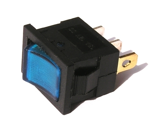 Přepínač podsvětlený - hranatý, modrý