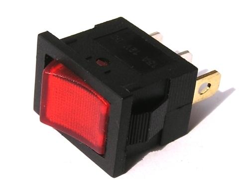 Přepínač podsvětlený - hranatý, červený