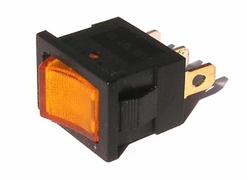 Přepínač podsvětlený - hranatý, žlutý