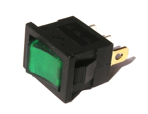 Přepínač podsvětlený - hranatý, zelený