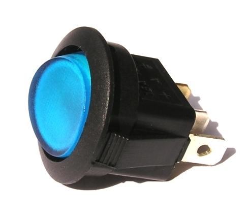 Přepínač podsvětlený - kulatý, modrý