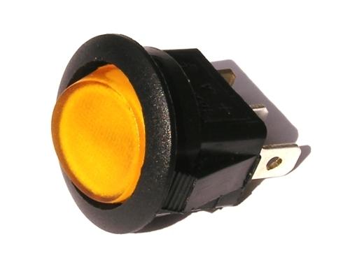Přepínač podsvětlený - kulatý, žlutý