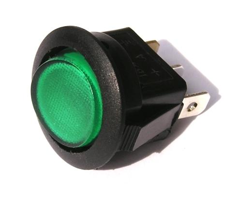 Přepínač podsvětlený - kulatý, zelený