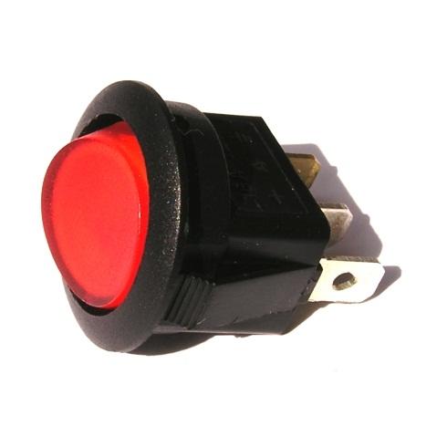 Přepínač podsvětlený - kulatý, červený