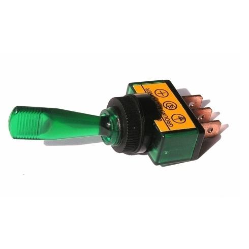 Přepínač podsvětlený - pákový, zelený