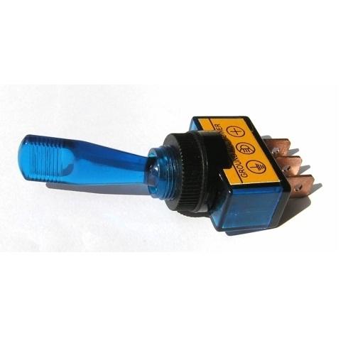 Přepínač podsvětlený - pákový, modrý