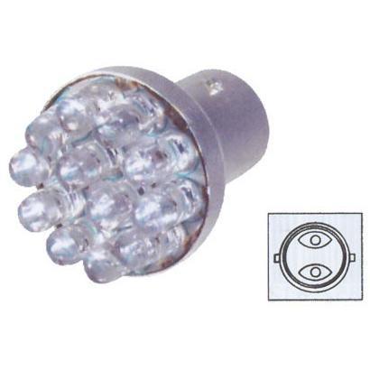 Červená LED žárovka s paticí BA15D, dvoupólová 21/5W, 12LED, 1ks