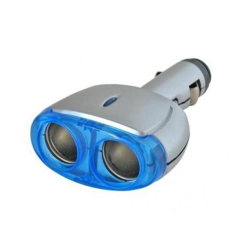 Rozbočovač do auta - rozdvojka SILVER-BLUE, 12V