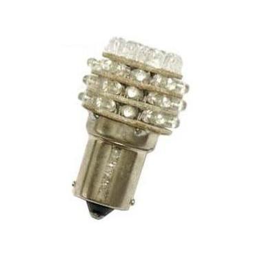 Červená LED žárovka s paticí BA15S, jednopólová 21W, 36LED, 1ks