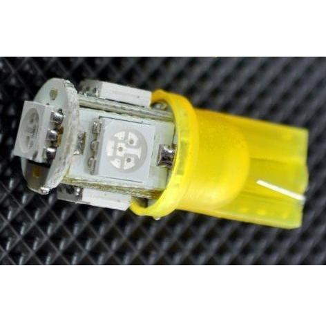 Žárovka parkovací W5W, T10 - 5 x LED SMD ŽLUTÉ - bezpaticové, 1ks