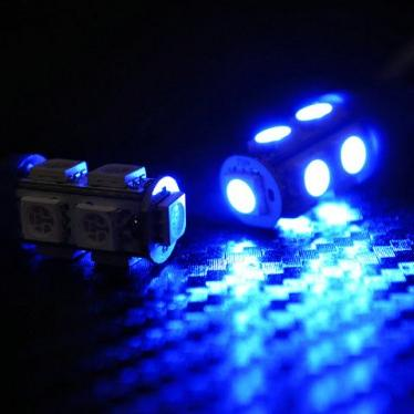 Žárovka parkovací W5W, T10 - 9 x LED SMD MODRÉ - bezpaticové, 1ks