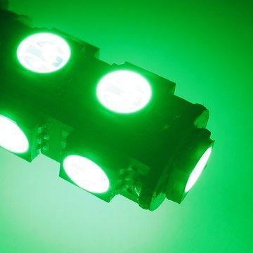 Žárovka parkovací W5W, T10 - 9 x LED SMD ZELENÉ - bezpaticové, 1ks
