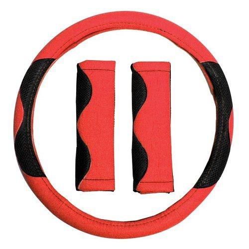 Potah volantu červený + návlek na bezp. pás