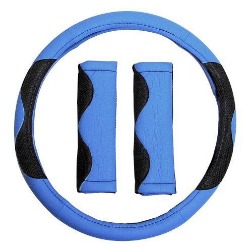 Potah volantu modrý + návlek na bezp. pás