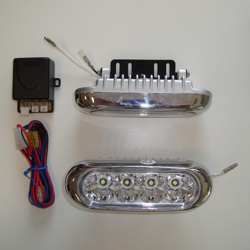 NEHOMOLOGOVANÁ LED světla pro denní svícení, 4 LED - sada 2ks