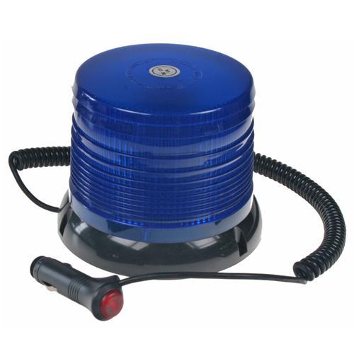 Zábleskový LED maják, 12V, modrý magnet, homologace