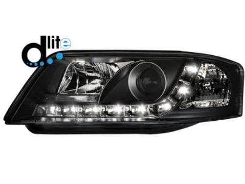 D-LITE přední světla s denním svícením AUDI A6 4B 01-04 černé