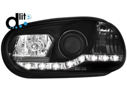 D-LITE přední světla s denním svícením VW Golf IV 98-02 černé