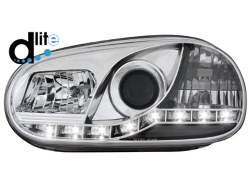 D-LITE přední světla s denním svícením VW Golf IV 98-02 chrom
