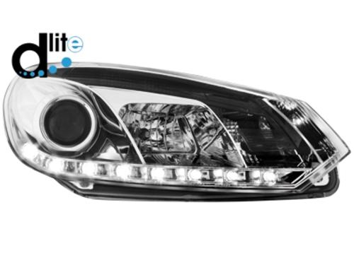 D-LITE přední světla s denním svícením VW Golf VI 08+ chrom