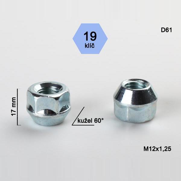 Kolová matice M12x1,25 s krátkou hlavou, kužel