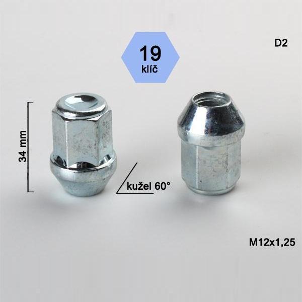 Kolová matice M12x1,25 uzavřená, dosedací plocha kužel