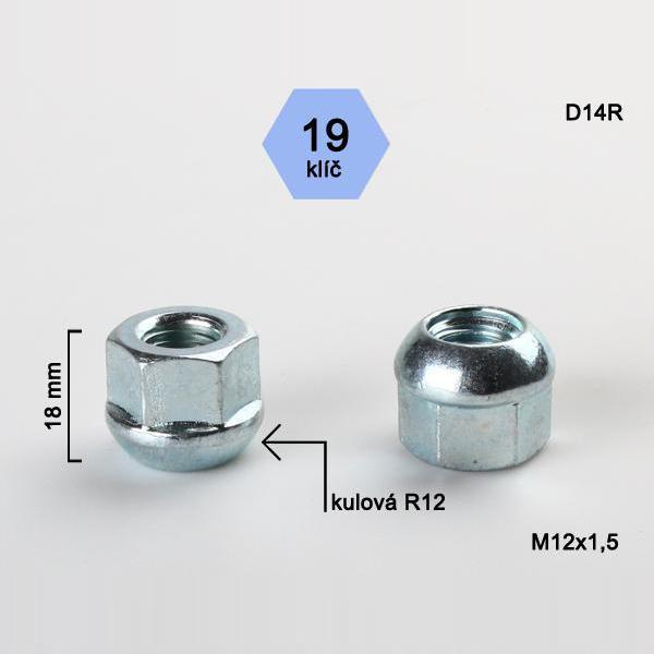 Kolová matice M12x1,5 dosedací plocha koule