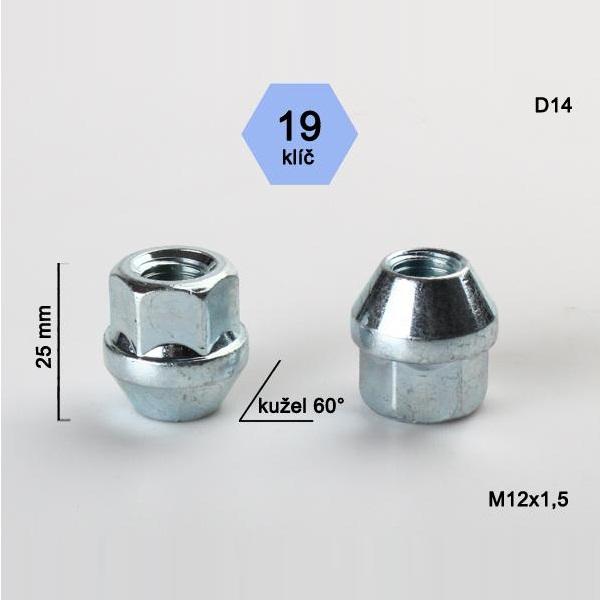 Kolová matice M12x1,5, otevřená, dosedací plocha kužel