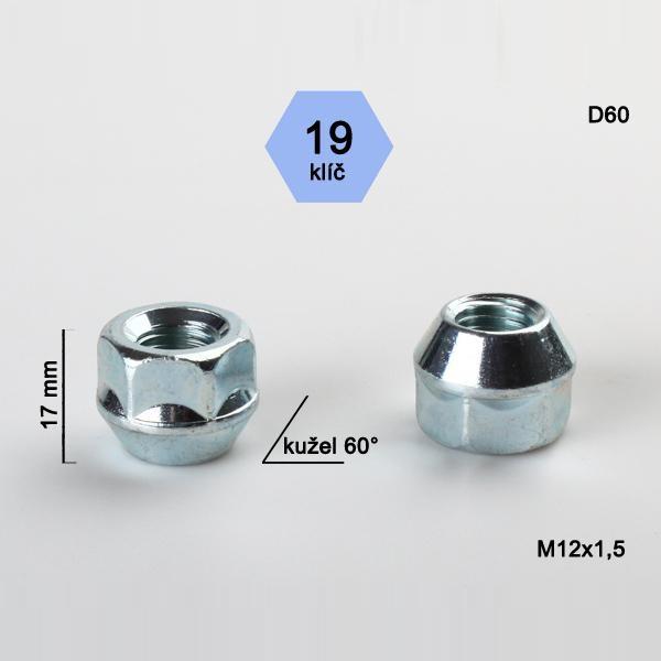 Kolová matice M12x1,5 s krátkou hlavou, kužel