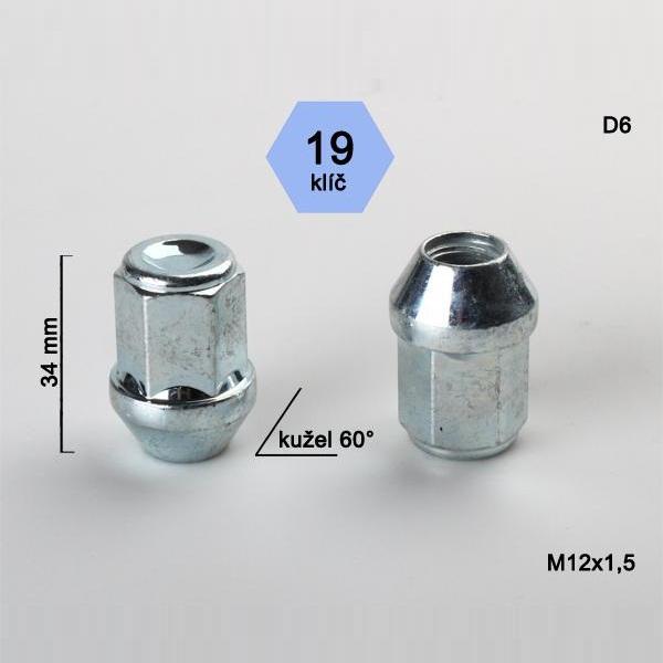 Kolová matice M12x1,5 uzavřená, dosedací plocha kužel