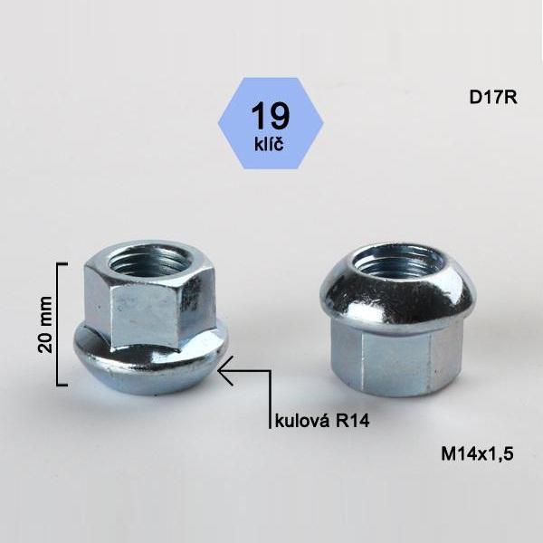 Kolová matice M14x1,5 dosedací plocha koule