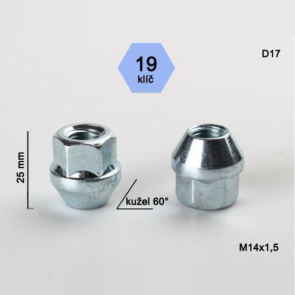 Kolová matice M14x1,5, otevřená, dosedací plocha kužel