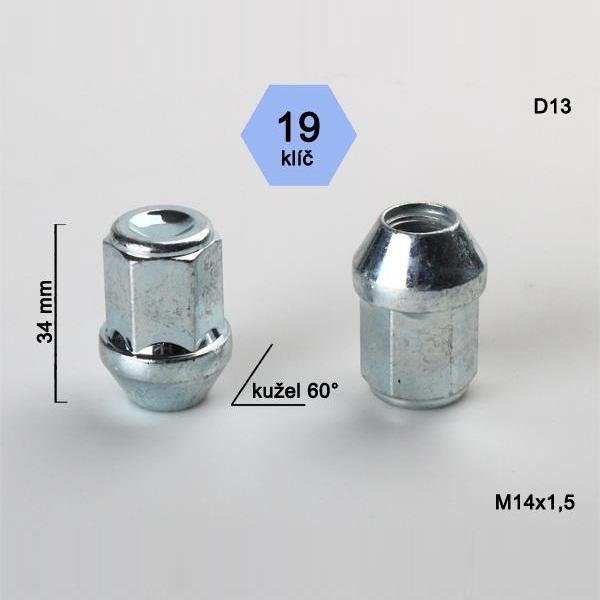 Kolová matice M14x1,5 uzavřená, kužel