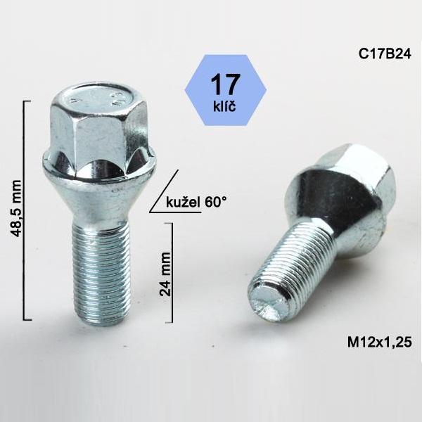 Kolový šroub M12x1,25x24, dosedací plocha kužel
