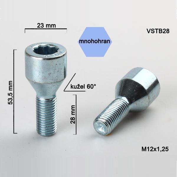 Kolový šroub M12x1,25x28, dosedací plocha kužel, s vnitřním mnohohranem