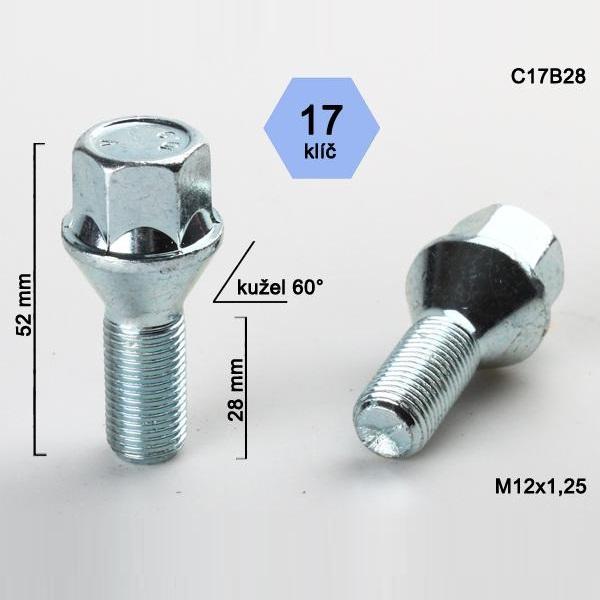 Kolový šroub M12x1,25x28, dosedací plocha kužel