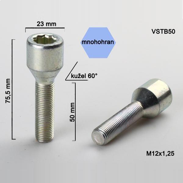 Kolový šroub M12x1,25x50, dosedací plocha kužel, s vnitřním mnohohranem