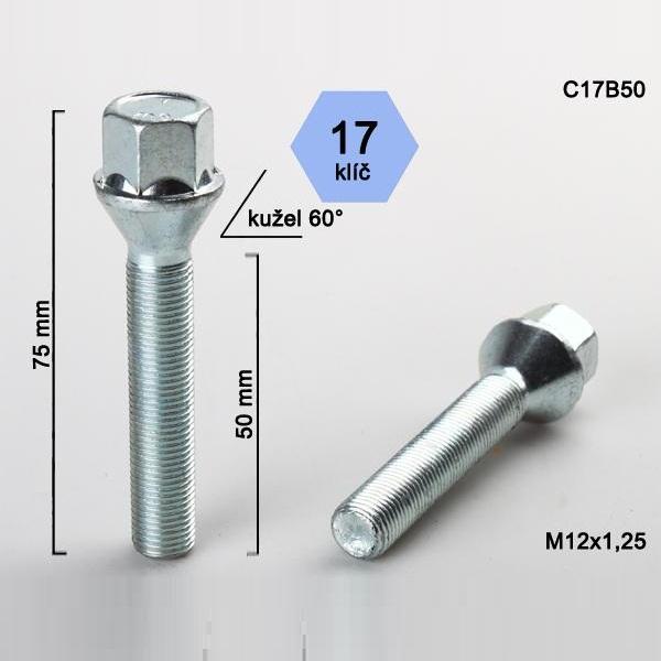 Kolový šroub M12x1,25x50, dosedací plocha kužel