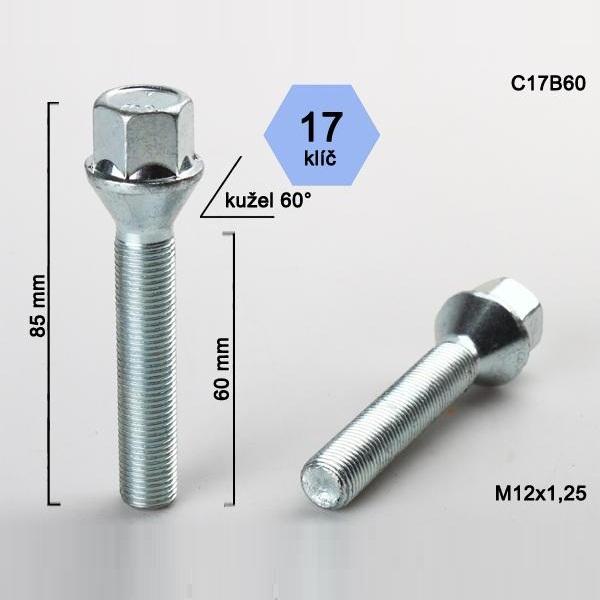 Kolový šroub M12x1,25x60, dosedací plocha kužel