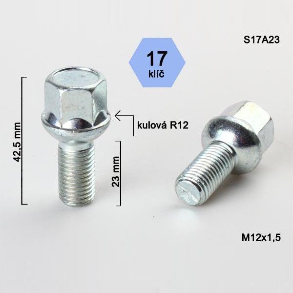 Kolový šroub M12x1,5x23, dosedací plocha koule