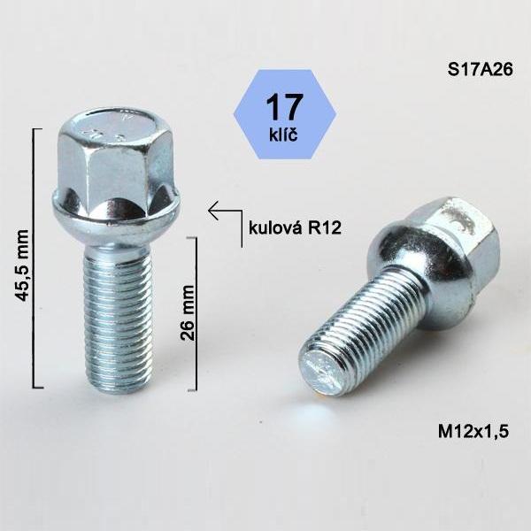 Kolový šroub M12x1,5x26, dosedací plocha koule