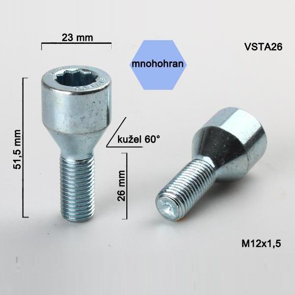 Kolový šroub M12x1,5x26, dosedací plocha kužel, s vnitřním mnohohranem