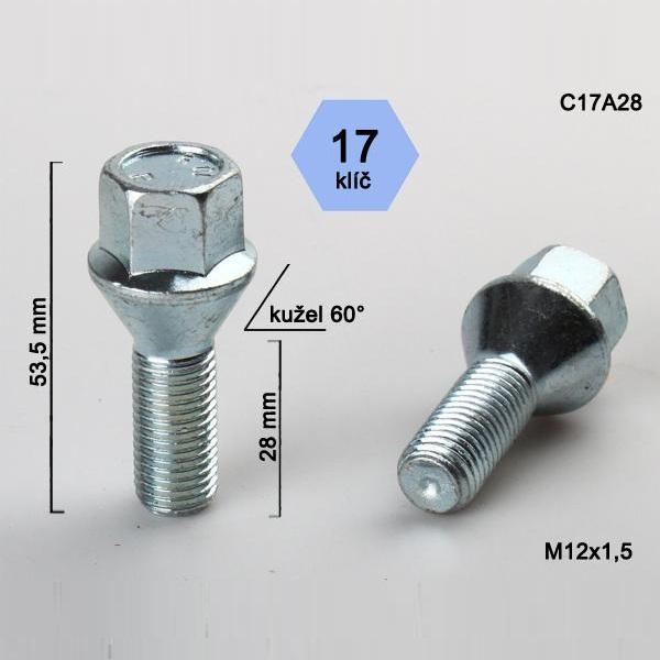 Kolový šroub M12x1,5x28, dosedací plocha kužel