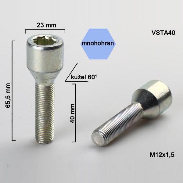 Kolový šroub M12x1,5x40, dosedací plocha kužel, s vnitřním mnohohranem