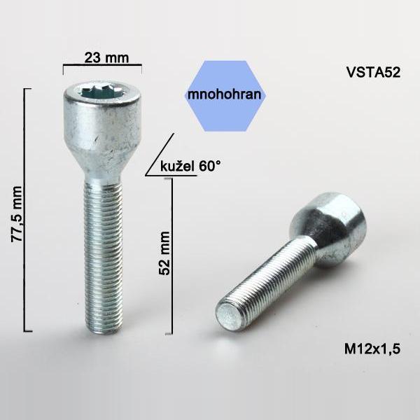 Kolový šroub M12x1,5x52, dosedací plocha kužel, s vnitřním mnohohranem