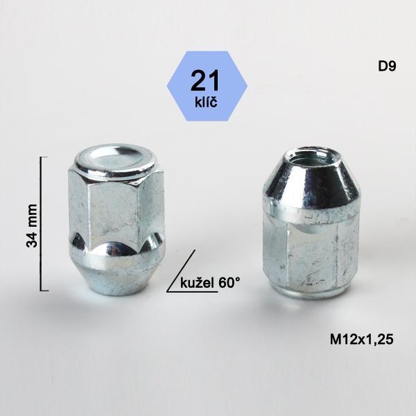 Matice M12x1,25 kužel, zavřená, klíč 21; výška 34