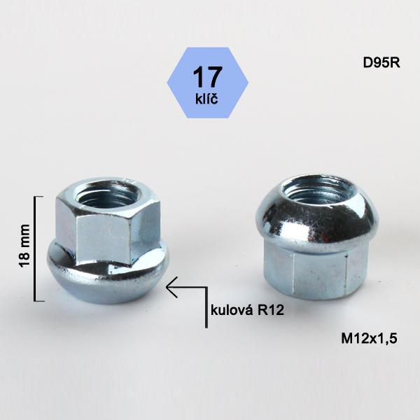 Matice M12x1,5 koule R12 otevřená, klíč 17, výška 18
