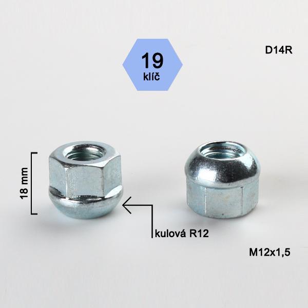 Matice M12x1,5 koule R12 otevřená, klíč 19, výška 18