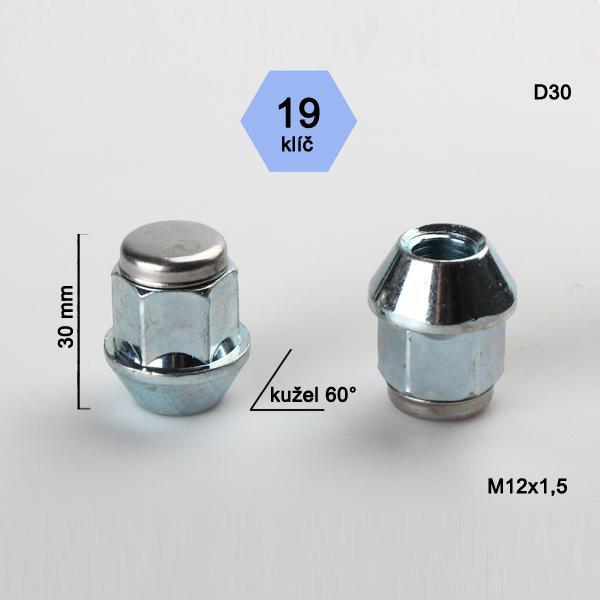 Matice M12x1,5 kužel (nerez víčko), klíč 19, výška 30