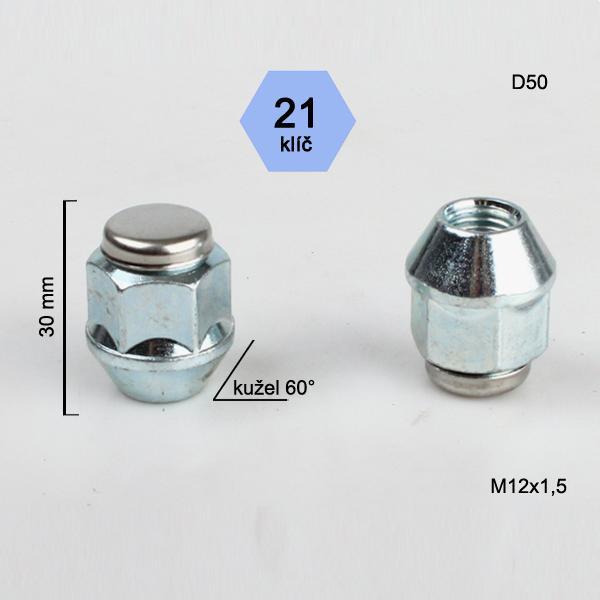 Matice M12x1,5 kužel (nerez víčko), klíč 21, výška 30